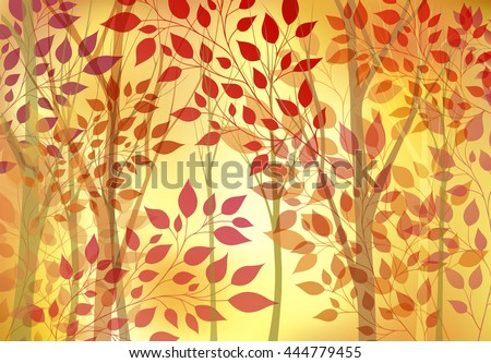 Abstract autumn background with trees and leaves