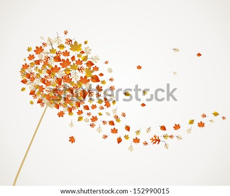 Abstract autumn concept. Dandelion with flying leaves and flower petals background. EPS10 vector file organized in layers for easy editing. - stock vector