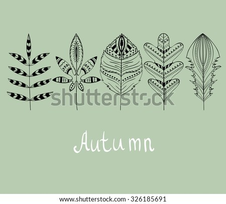 abstract  autumn leaves. Hand drawn vector illustration