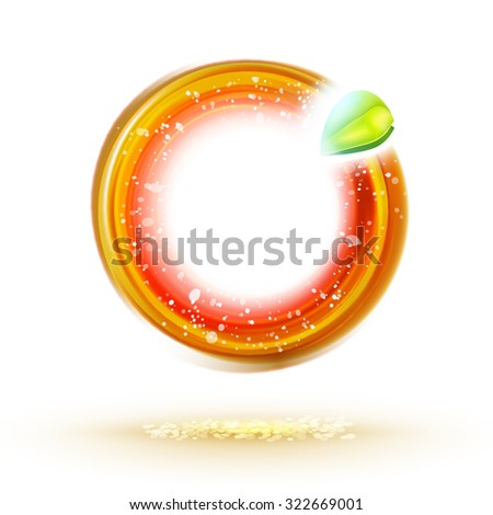 Abstract autumn sunny circle label with green leaf. Natural food identity idea. Ecology design illustration. Season banner.  - stock vector