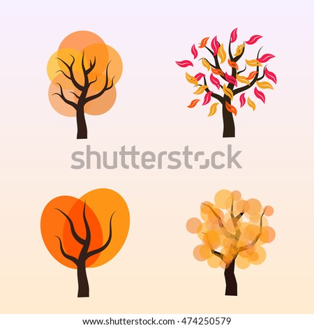 Abstract autumn trees vector design