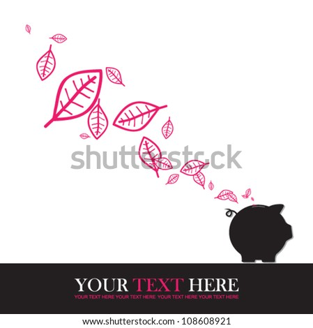 Abstract autumnal vector illustration with piggy bank and leafs. - stock vector