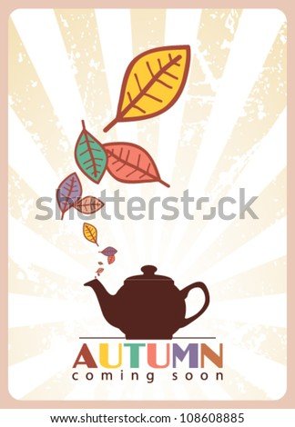 Abstract autumnal vector illustration with tea pot and leafs. - stock vector