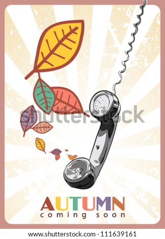 Abstract autumnal vector illustration with telephone tube and leafs. - stock vector
