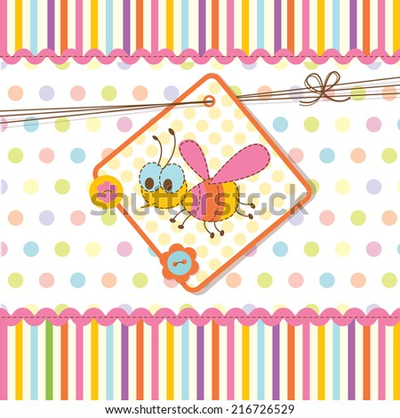 Abstract baby shower with bee - stock vector