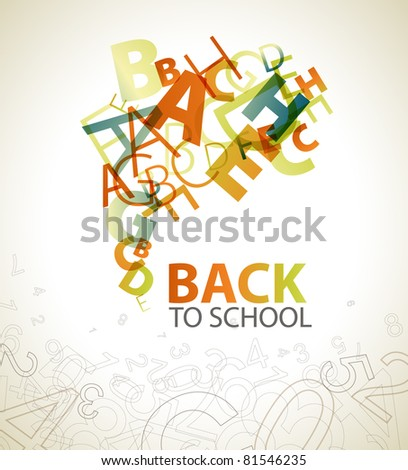 """Abstract """"Back to School"""" background with retro colored letters - stock vector"""