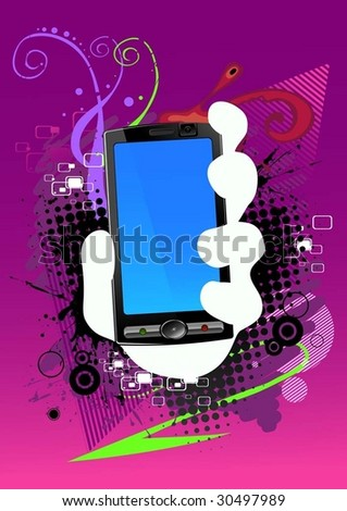 abstract background and cell phone - stock vector