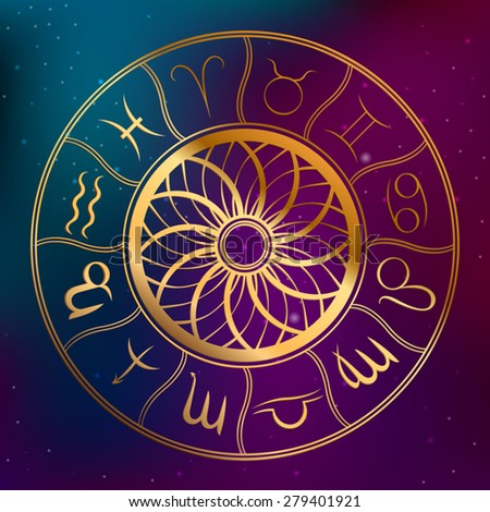 Abstract background astrology concept horoscope with zodiac signs illustration vector - stock vector
