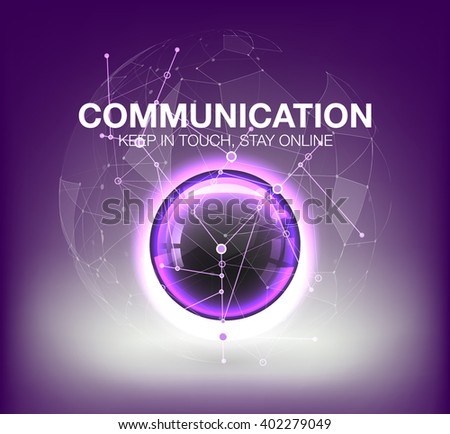 Abstract Background Banner. futuristic user interface HUD UI UX. Abstract background with connecting dots and lines. Abstract circle and space for content. Point and curve constructed sphere wireframe - stock vector