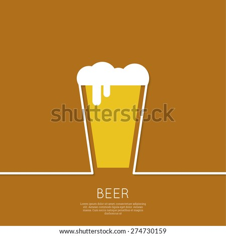 Abstract background beer bottle with yellow liquid and foam. Logo for restaran, pub menu, cafe, signage. minimal.  flat design - stock vector