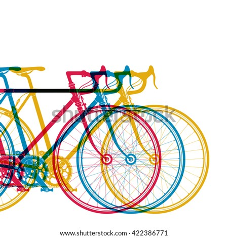 Abstract background 3 bikes in different colors on white, vector illustration for your design. - stock vector