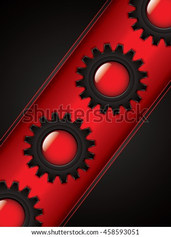 Abstract background, black and red brochure, vector - stock vector