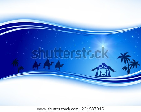 Abstract background, Christian Christmas scene with shining star on blue sky and birth of Jesus, illustration. - stock vector