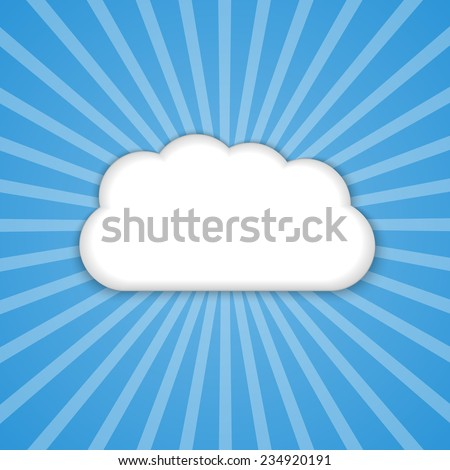 Abstract background cloud in the blue sky with sun rays. Vector illustration.