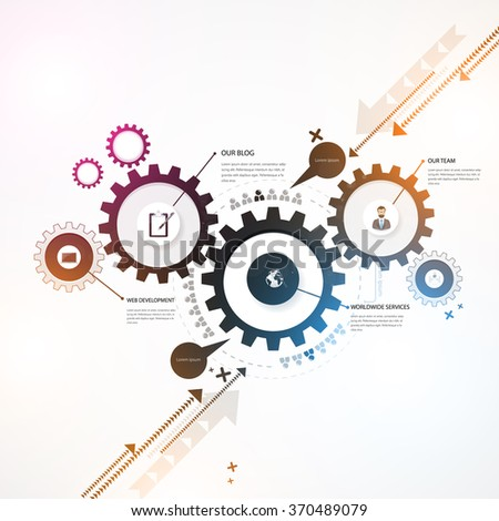 Abstract Background, Colorful gears, business design. - stock vector
