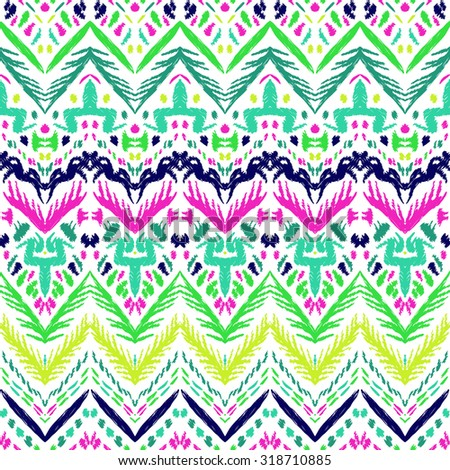 Abstract background. Colorful Ikat seamless pattern for textile, wallpaper, card or wrapping paper. - stock vector