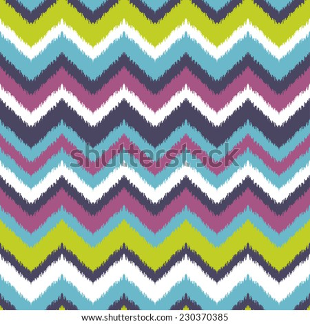 Abstract background. Colorful zigzag print for textile, wallpaper, card. Ikat seamless pattern. Vector illustration. - stock vector