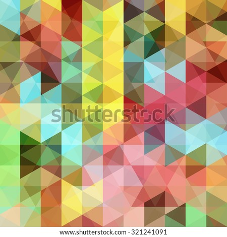 abstract background consisting of yellow, blue, green, red, pink triangles, vector illustration