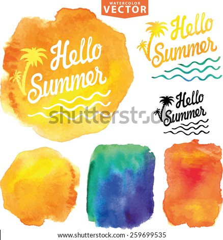 Abstract background.Design template watercolor stains,splash and title Hello summer. Easy to make new painting artistic design. Vector illustration, hand drawing art - stock vector