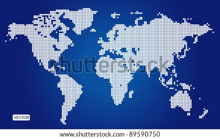 Abstract background Dotted World Map - stock vector