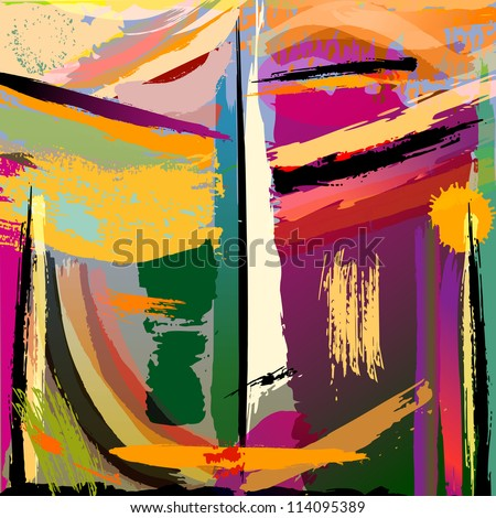 abstract background,face or mask, with paint strokes and splashes - stock vector