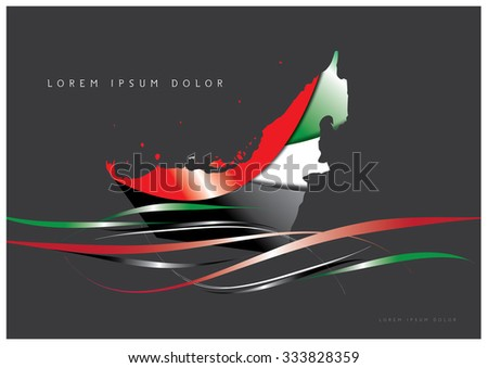 Abstract Background Flag with United Arab Emirates map. - stock vector