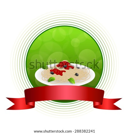 Abstract background food pasta spaghetti white Italy green red yellow circle frame ribbon illustration vector - stock vector