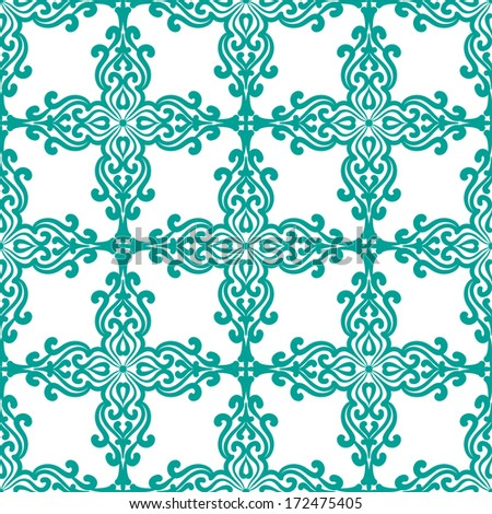 Abstract Background For Design. Seamless Pattern With Damask Ornament - stock vector