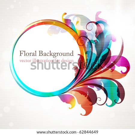 Abstract background for design with colorful leafs and flowers. eps 10 - stock vector