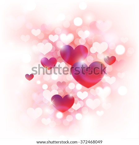 Abstract Background for Valentine's Day with Cute Pink, Red and White Hearts in Front of De-focused Lights   - stock vector
