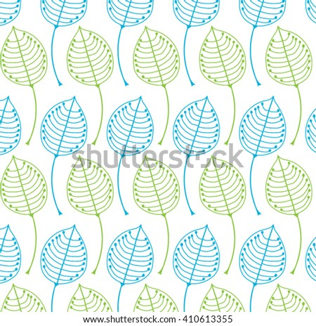 Abstract background from green and blue leaves for your design. Vector