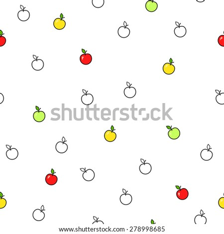 Abstract background fruit apple green red yellow seamless pattern vector - stock vector