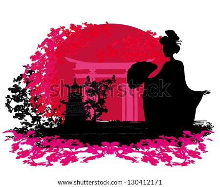 abstract background- Geisha silhouette at sunset - stock vector