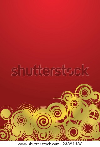 Abstract background, golden ornament with gradient fill, vector illustration