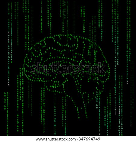 Abstract  background, green computer code, illustration of brain - stock vector