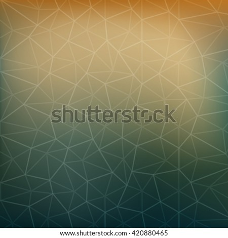 Abstract background green orange polygon. - stock vector