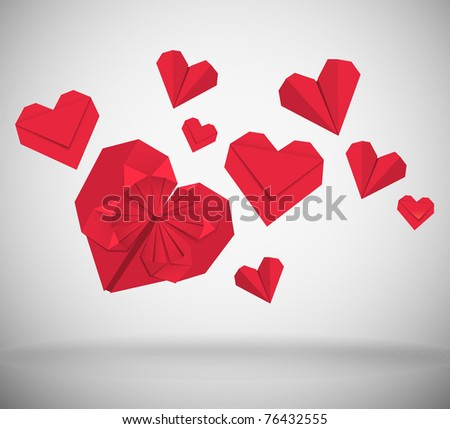 Abstract background, hearts made of red paper - stock vector