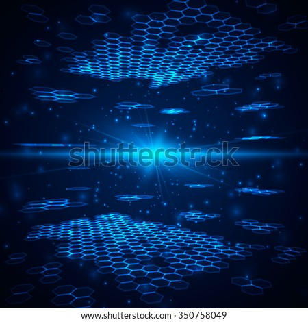Abstract background, hexagonal template with bright flare. Vector illustration for your business/science/technology artwork.