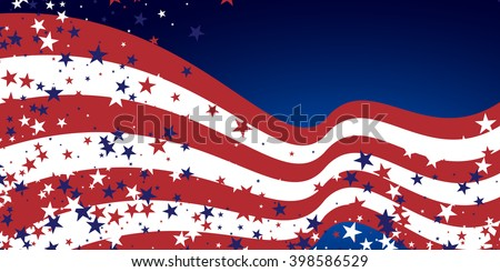 Abstract background in colors of american flag. Independence Day or Veterans Day theme background. Stock vector.