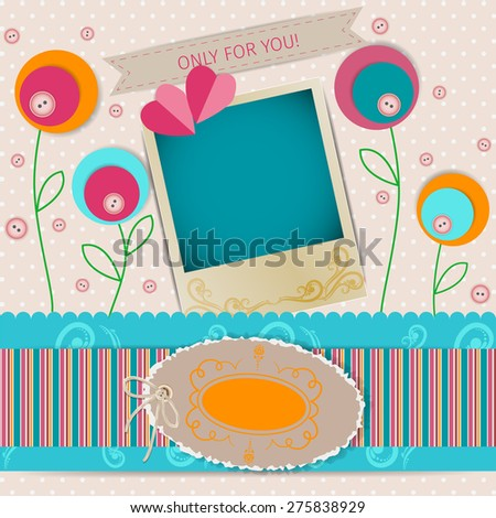 abstract background in scrapbook style with flowers and decorative elements