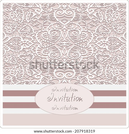 Abstract background, lace frame border pattern, wedding invitation card design, romantic ornament with hearts, hand drawn artwork, vector illustration - stock vector