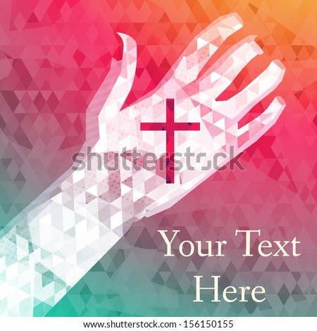 abstract background left hand with christian cross - stock vector