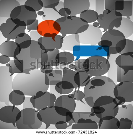 Abstract background made from anonymous speech bubbles with two different highlighted bubbles - stock vector