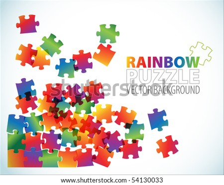 Abstract background made from colorful puzzle pieces - stock vector