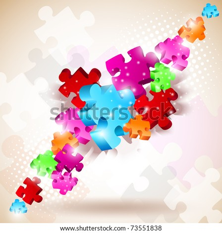 Abstract background made from puzzle pieces - stock vector