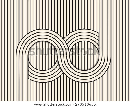 Abstract background made in vector. Infinity optical illusion.Black and white line art. - stock vector