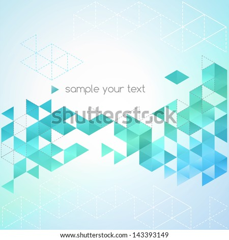 Abstract background made up of blue triangular shapes - stock vector