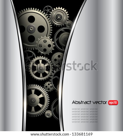 Abstract background metallic silver with gears, vector. - stock vector