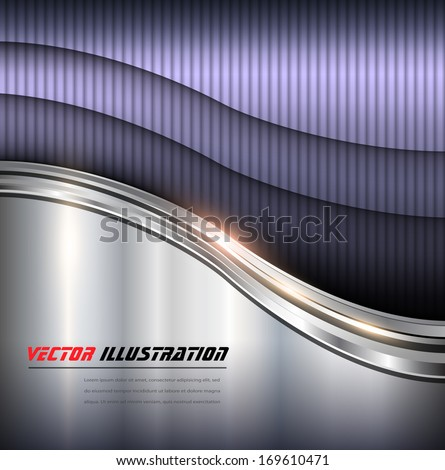 Abstract background metallic waves, vector illustration.