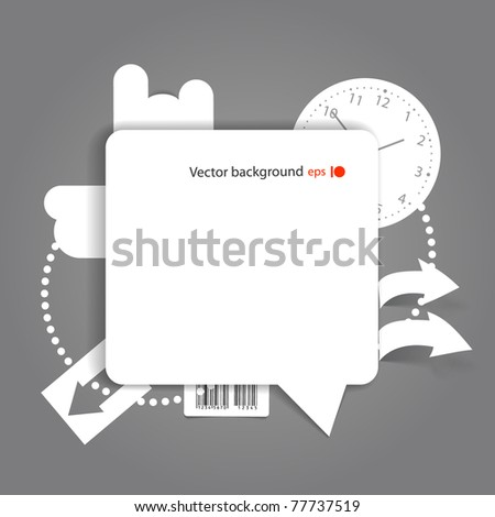 Abstract background of blank white speech cloud on the wall - stock vector